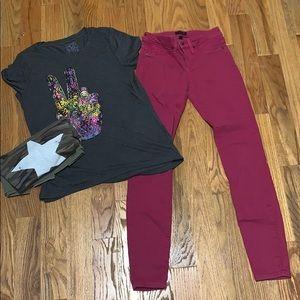 Bebe Skinny Sz 27 Jeans + 2 Target Tops Bundle